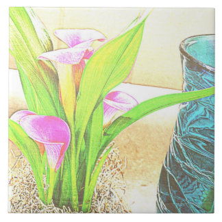 Pink Calla Lily Flowers Ceramic Tile