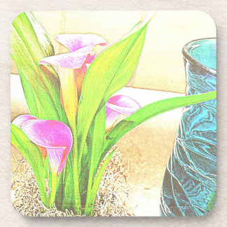 Pink Calla Lily Flowers Coaster Set