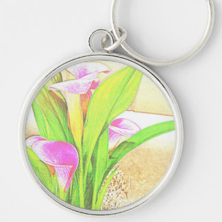 Pink Calla Lily Flowers Key Chain