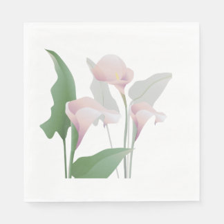 Pink Calla Lily Flowers Paper Napkins