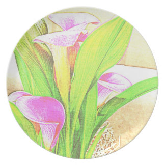 Pink Calla Lily Flowers Plate
