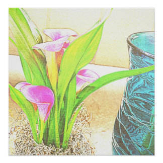 Pink Calla Lily Flowers Poster