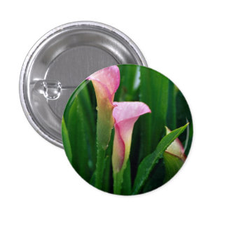 Pink calla lily pinback button