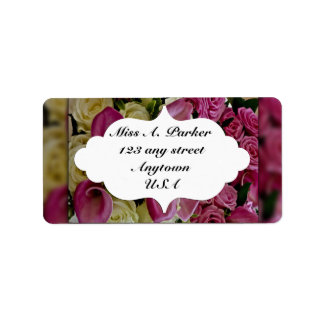 Pink Calla Lily & rose  return address label