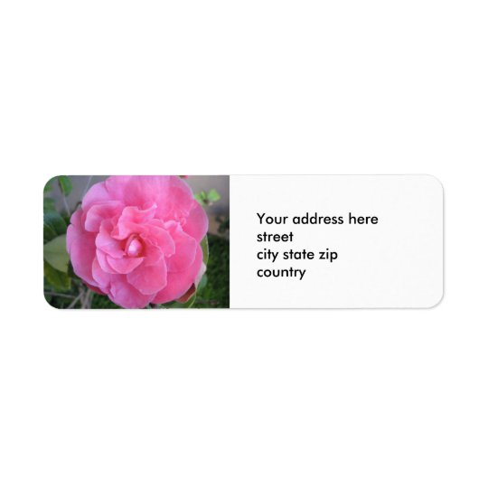 Pink Camelia Blossom Return Address Label