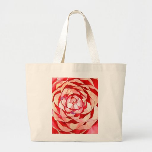 Pink Camellia abstract original art painting Bag