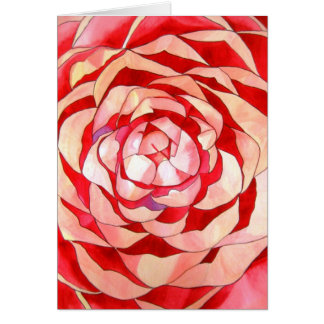 Pink Camellia abstract original art painting Greeting Card