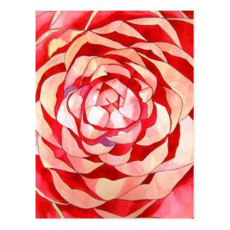 Pink Camellia abstract original art painting Postcard