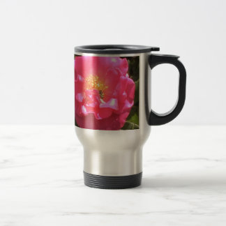 Pink Camellia and bee Stainless Steel Travel Mug