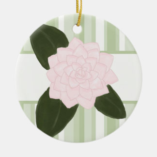 Pink Camellia and Green Stripes Ornament