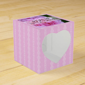 Pink Camellia and Ribbon Wedding Wedding Favour Box