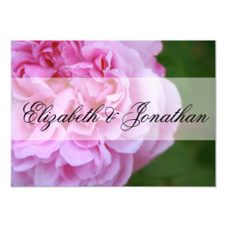 Pink Camellia and Ribbon Wedding 13 Cm X 18 Cm Invitation Card