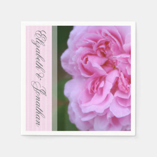 Pink Camellia and Ribbon Wedding Disposable Napkin