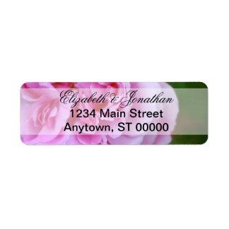 Pink Camellia and Ribbon Wedding Return Address Label