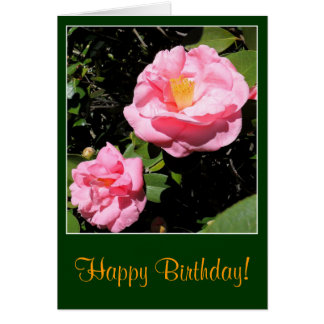 Pink Camellia Birthday Card