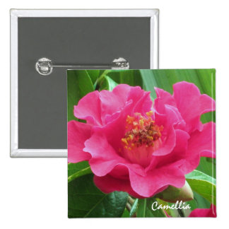 Pink Camellia Button Pin
