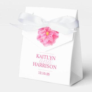 Pink camellia floral art wedding favor box party favour boxes