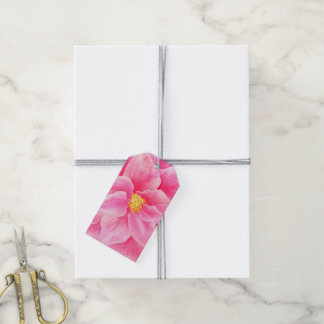 Pink camellia floral watercolor gift tags