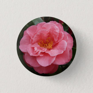 Pink Camellia Flower Button Pin