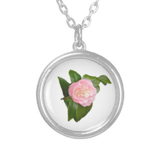 Pink camellia flower necklace. silver plated necklace