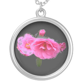 Pink camellia Flowers Necklace