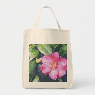 Pink Camellia Grocery Tote Grocery Tote Bag