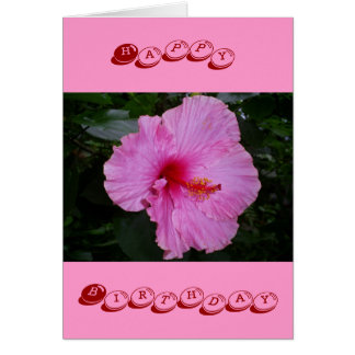 pink camellia happy birthday greeting card