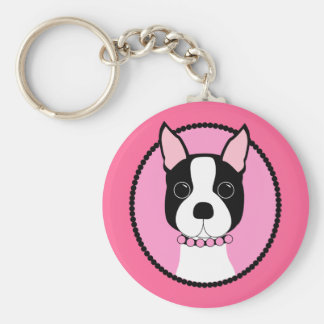 Pink Cameo Boston Terrier Key Ring