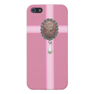 Pink Cameo Brooch & Pearl & Hearts Printed Covers For iPhone 5