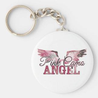 Pink Camo Angel Basic Round Button Key Ring