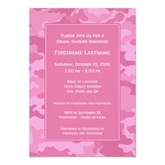 Pink Camo Bridal Shower or Engagement Party Personalized Invitation