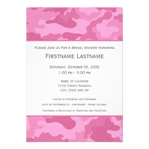 Pink Camo Bridal Shower or Engagement Party Personalized Invitations
