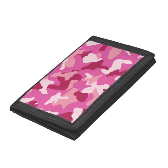 Pink camo camouflage army pattern trifold wallet