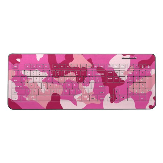 Pink camo camouflage army pattern wireless keyboard