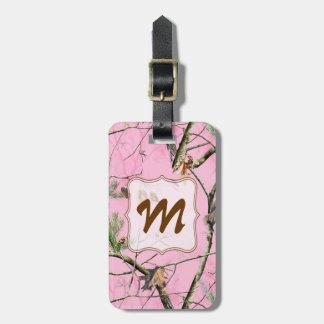 Pink Camo Camouflage Hunting Girl Real Luggage Tag