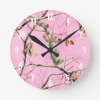 Pink Camo Camouflage Hunting Girl Real Wall Clock