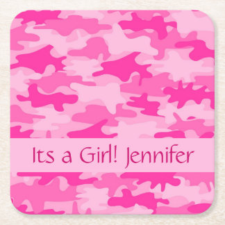 Pink Camo Camouflage Its a Girl Name Square Paper Coaster
