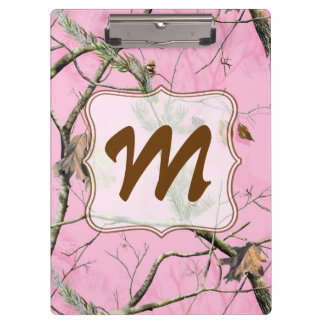 Pink Camo Camouflage Monogram Initial Clip Board