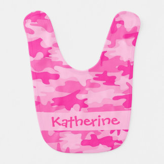 Pink Camo Camouflage Name Personalised Baby Bibs