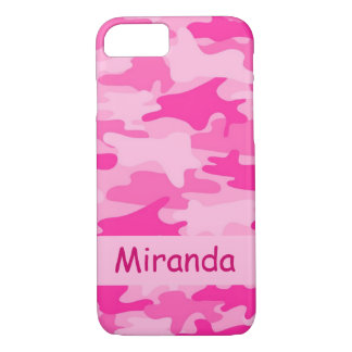 Pink Camo Camouflage Name Personalised iPhone 7 Case