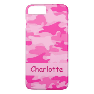 Pink Camo Camouflage Name Personalised iPhone 7 Plus Case
