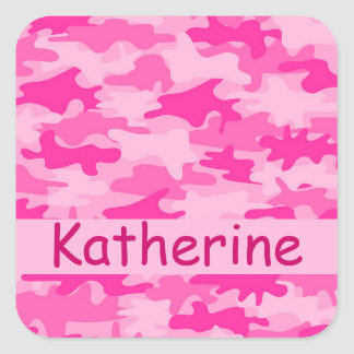 Pink Camo Camouflage Name Personalised Square Sticker