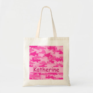 Pink Camo Camouflage Name Personalized Tote Bag