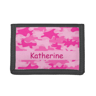 Pink Camo Camouflage Name Personalized Tri-fold Wallet