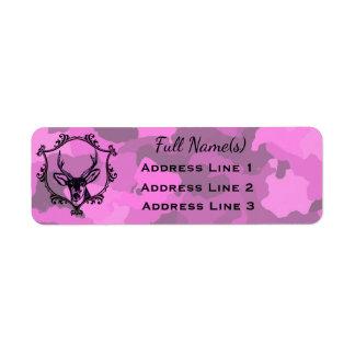 Pink Camo Deer Return Address Label