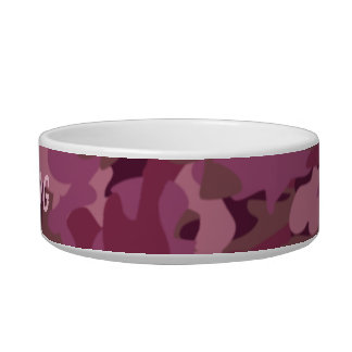 Pink Camo Dog Bowl Personalized Pet Camouflage