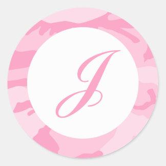 Pink Camo Envelope Seals Round Sticker