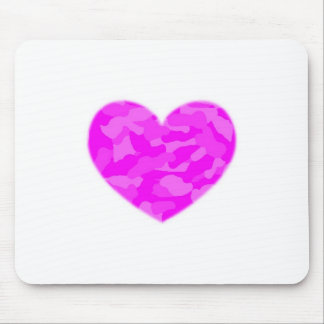 Pink Camo Heart Mouse Pads