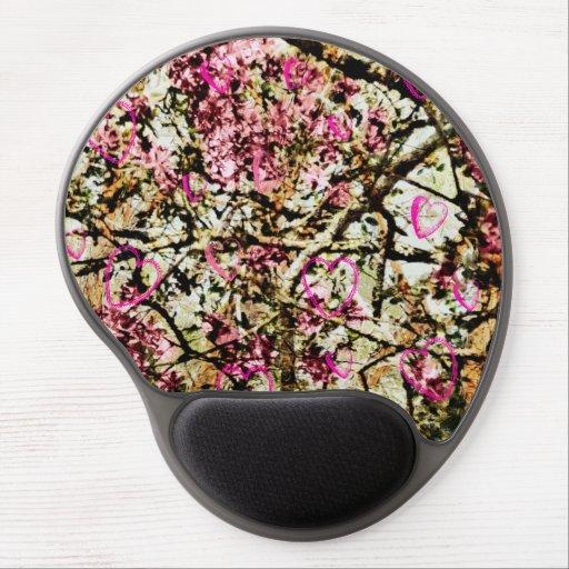 Pink Camo & Hearts Mousepad Gel Mouse Mats