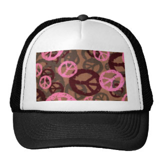 Pink camo Look Peace Signs Trucker Hat